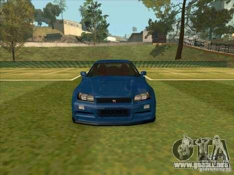Nissan Skyline GT-R R34 from FnF 4 para visión interna GTA San Andreas