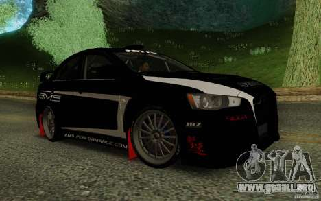 Mitsubishi Lancer Evolution X Tunable para GTA San Andreas vista hacia atrás