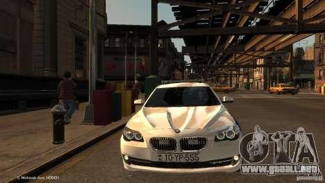 BMW 550i Azeri Police YPX para GTA 4 vista hacia atrás