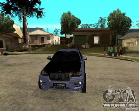 BMW X6 M HAMANN para GTA San Andreas vista hacia atrás