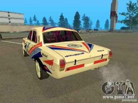 Volga GAZ 24-10 Rally para GTA San Andreas vista posterior izquierda