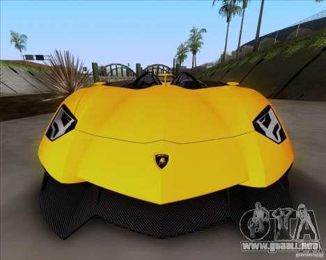 Lamborghini Aventador J TT Black Revel para GTA San Andreas vista posterior izquierda