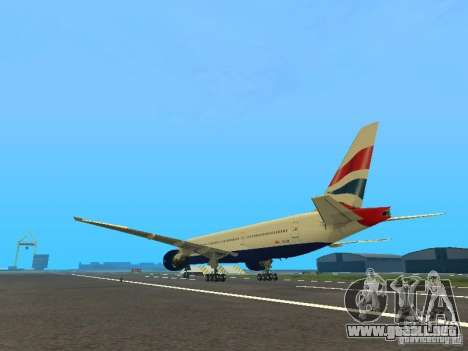 Boeing 777-200 British Airways para GTA San Andreas vista posterior izquierda