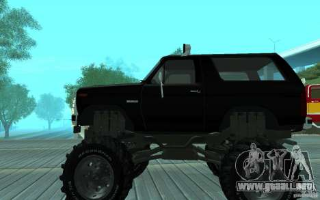Ford Bronco Monster Truck 1985 para GTA San Andreas vista posterior izquierda