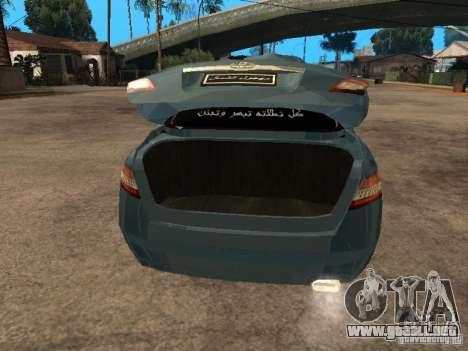 Toyota Camry 2009 para GTA San Andreas vista hacia atrás