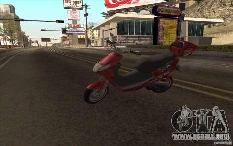 Suzuki Addres para GTA San Andreas vista hacia atrás