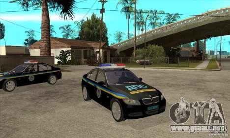 BMW 3 Series DPS para GTA San Andreas vista hacia atrás