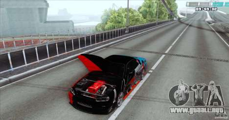 Nissan Skyline R34 Evil Empire para GTA San Andreas vista posterior izquierda