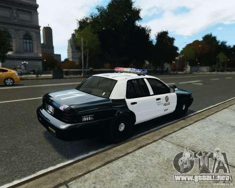 Ford Crown Victoria LAPD para GTA 4 Vista posterior izquierda