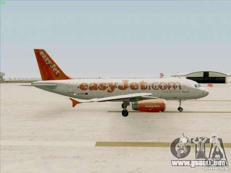 Airbus A319 Easyjet para GTA San Andreas vista hacia atrás