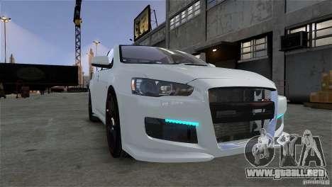 Mitsubishi Lancer Evo X para GTA 4 vista hacia atrás