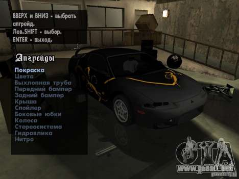 Mitsubishi Eclipse 1998 Need For Speed Carbon para GTA San Andreas vista hacia atrás