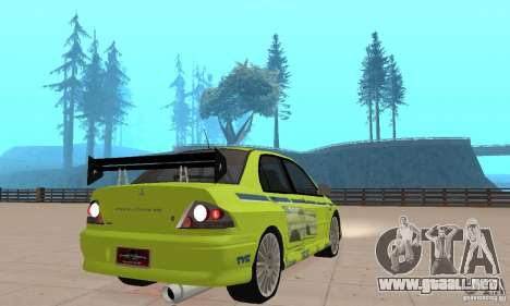 Mitsubishi Lancer Evo The Fast and the Furious 2 para GTA San Andreas left