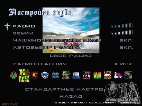 Fórmula menú estilo Drift para GTA San Andreas sucesivamente de pantalla