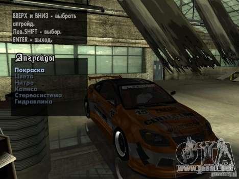 Chevrolet Cobalt SS NFS Shift Tuning para visión interna GTA San Andreas