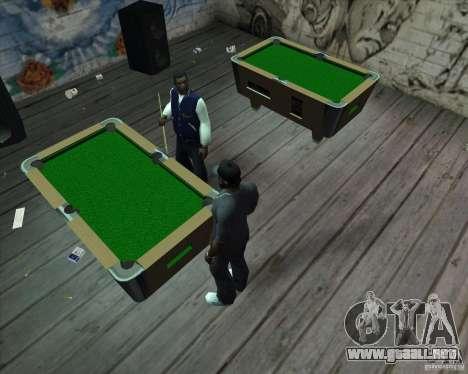 Nueva mesa de billar para GTA San Andreas segunda pantalla