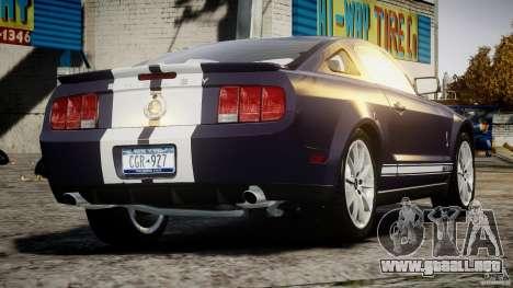 Shelby GT500KR 2008 para GTA 4 Vista posterior izquierda