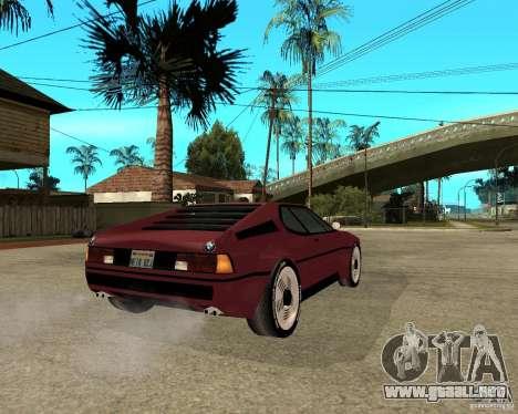 BMW M1 para GTA San Andreas vista posterior izquierda
