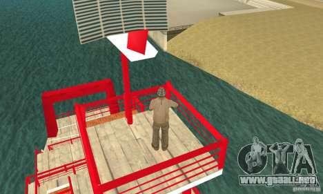 Vice City Ferryboat para GTA San Andreas vista hacia atrás