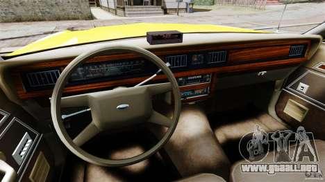 Ford LTD Crown Victoria 1987 L.C.C. Taxi para GTA 4 vista hacia atrás