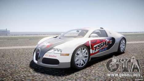 Bugatti Veyron 16.4 v1 para GTA 4 vista hacia atrás