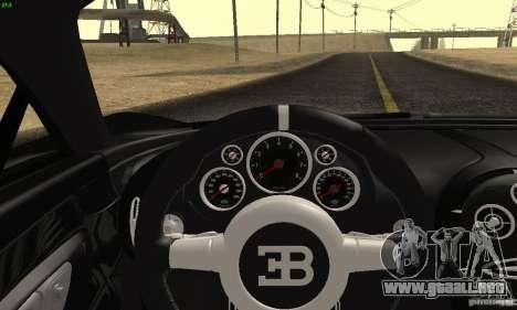 Bugatti Veyron SuperSport para GTA San Andreas vista hacia atrás
