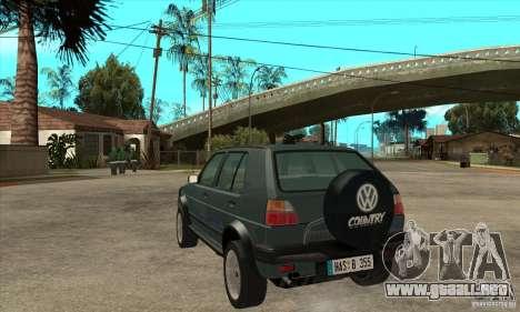 Volkswagen Golf Country MkII Syncro 4x4 1991 para GTA San Andreas vista posterior izquierda