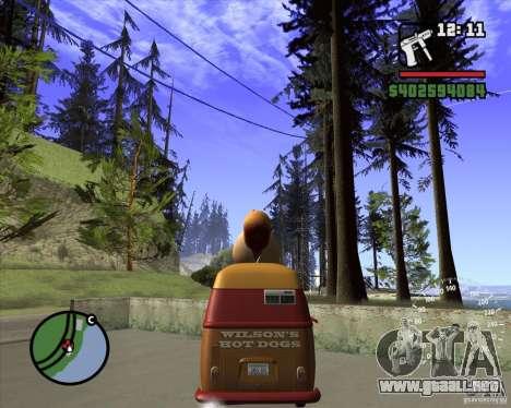 Volkswagen Transporter T1 Hot Dog para GTA San Andreas vista posterior izquierda