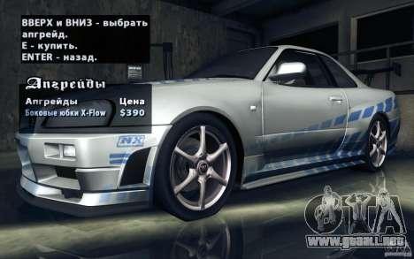 Nissan Skyline GTR R34 VSpecII para GTA San Andreas
