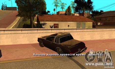 God car mod para GTA San Andreas segunda pantalla