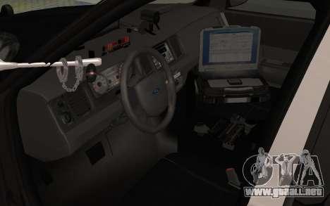 Ford Crown Victoria Police Interceptor LSPD para GTA San Andreas vista hacia atrás