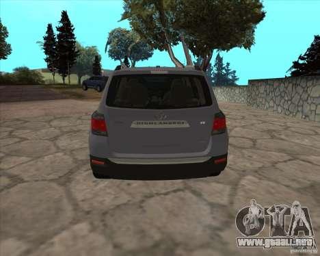 Toyota Highlander para GTA San Andreas vista posterior izquierda