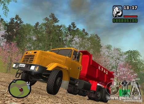 Camión KrAZ 65055 para visión interna GTA San Andreas