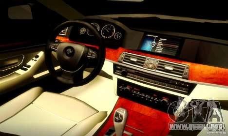BMW 550i F10 para GTA San Andreas vista hacia atrás
