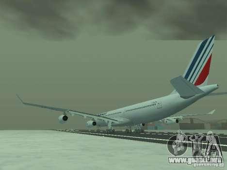 Airbus A340-300 Air France para GTA San Andreas vista posterior izquierda
