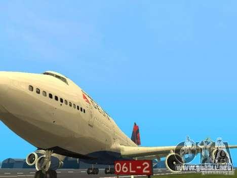 Boeing 747-400 Delta Airlines para visión interna GTA San Andreas