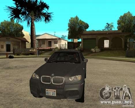 BMW X6 M para GTA San Andreas vista hacia atrás