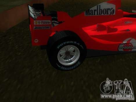 Ferrari F1 para GTA San Andreas vista posterior izquierda
