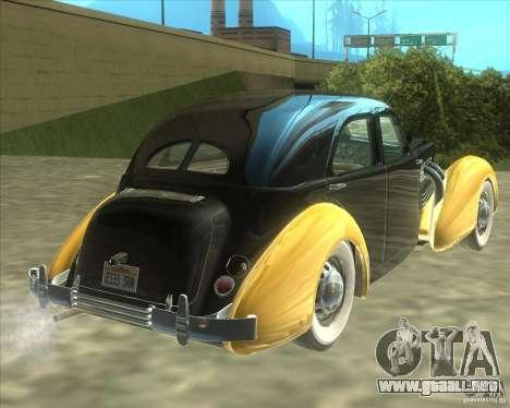 1937 Cord 812 Charged Beverly Sedan para la visión correcta GTA San Andreas
