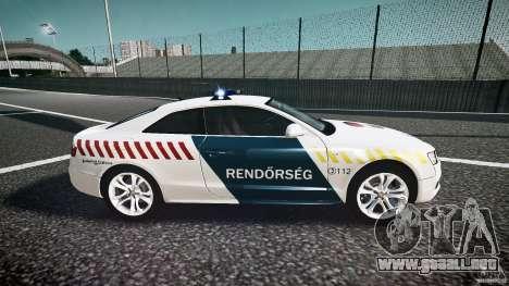 Audi S5 Hungarian Police Car white body para GTA 4 vista interior