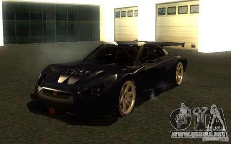 Nissan Skyline R35 GTR para GTA San Andreas vista hacia atrás
