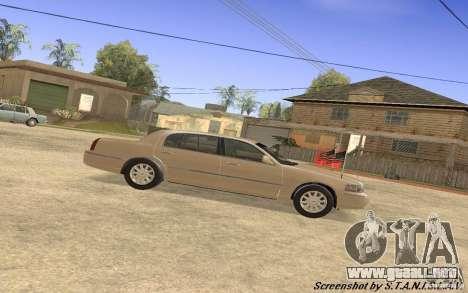 Lincoln Towncar Secret Service para GTA San Andreas vista posterior izquierda