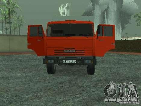 Camión de basura 53215 KAMAZ para GTA San Andreas vista hacia atrás