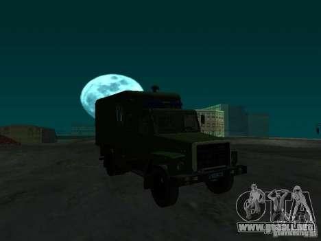 GAZ 3309 patrullero para GTA San Andreas vista hacia atrás
