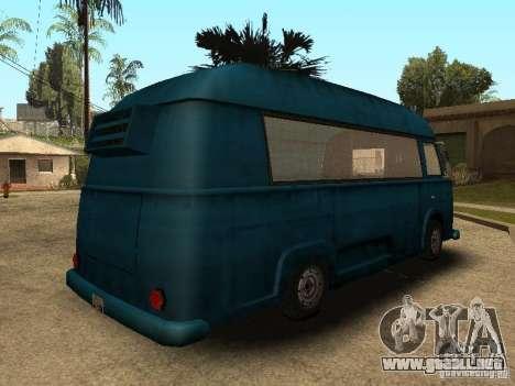 Hotdog civil Van para GTA San Andreas vista posterior izquierda