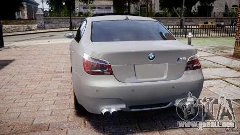 BMW M5 E60 2009 para GTA 4 Vista posterior izquierda