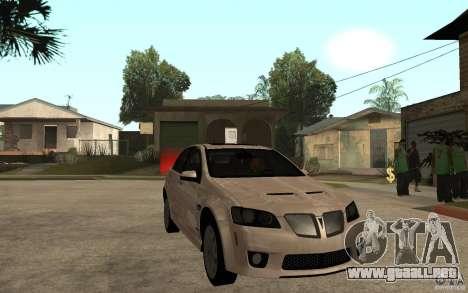 Pontiac G8 GXP 2009 para GTA San Andreas vista hacia atrás