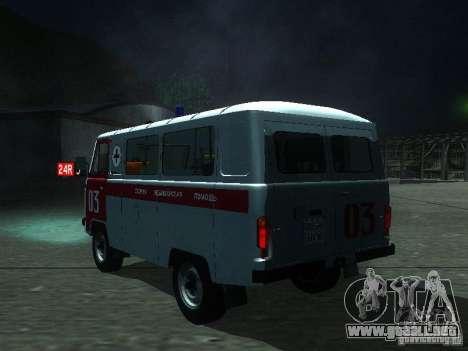 3962 UAZ ambulancia para GTA San Andreas vista posterior izquierda