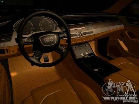 Audi A8 2010 para visión interna GTA San Andreas