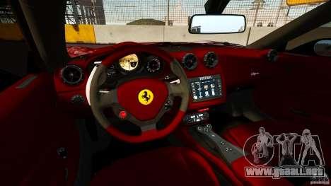 Ferrari California Novitec para GTA 4 vista hacia atrás
